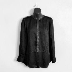 CLUB MONACO Black Silk Leather Trim Blouse